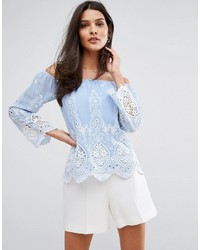 Lipsy Off Shoulder Top In Embroidered Cutwork Lace