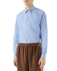 Gucci Bee Gg Embroidered Oxford Shirt