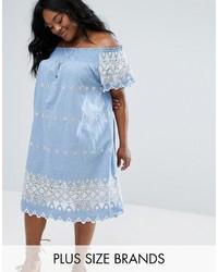 Light Blue Embroidered Off Shoulder Dress