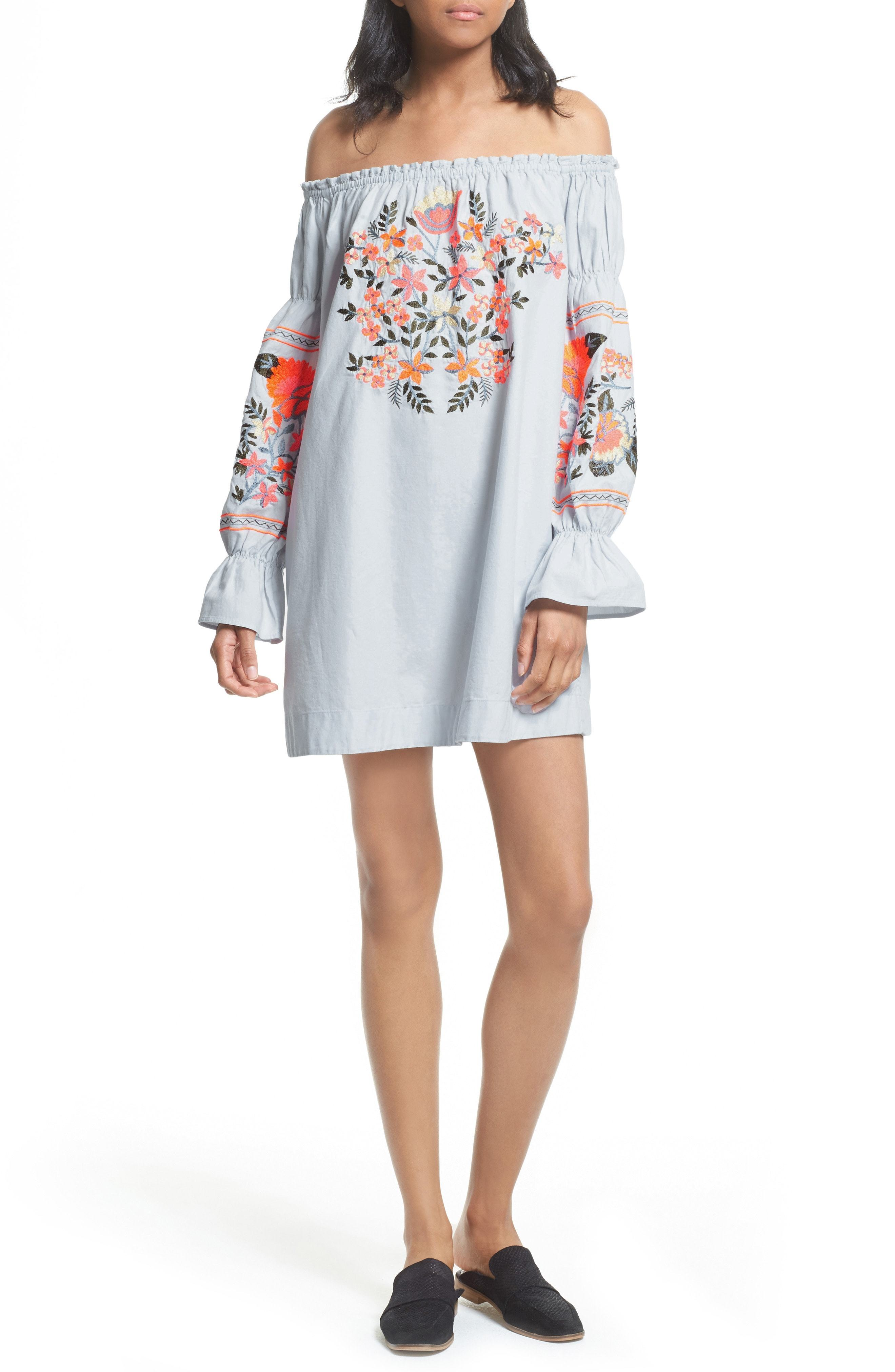 4e11207ea4460 ... Light Blue Embroidered Off Shoulder Dresses Free People Fleur Du Jour  Shift Dress