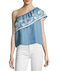 Rebecca Minkoff Rita One Shoulder Embroidered Top Light Blue