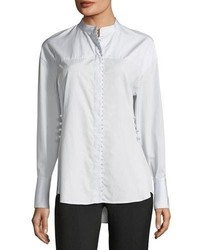 3.1 Phillip Lim Long Sleeve Button Front Poplin Shirt W Pearlescent Embroidery