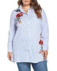 Glamorous Plus Size Embroidered Stripe Shirt