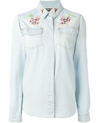 Roberto Cavalli Floral Embroidered Denim Shirt
