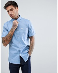 Fred Perry Oxford Short Sleeve Shirt In Sky Blue