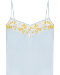 Carven Crepe Tank Top With Floral Embroidery