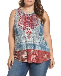 Lucky Brand Plus Size Embroidered Bib Tank