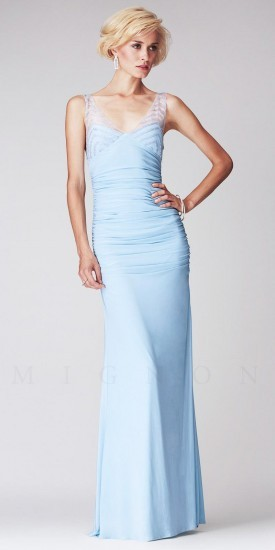 Mignon Beaded Illusion Strap Ruched Long Evening Dresses | Where ...