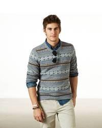 Light Blue Fair Isle Crew-neck Sweater