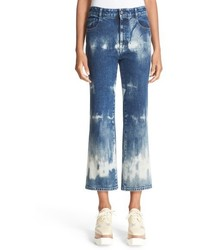 Bleach dyed crop flare jeans medium 785187