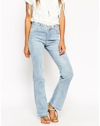 Asos Collection Slouch Flare Jeans In Light Wash