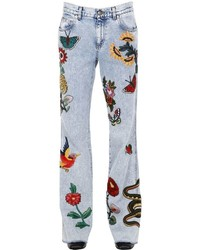 Gucci Flared Embroidered Patches Denim Jeans