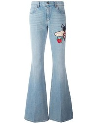 Gucci Embroidered Flared Denim Jeans