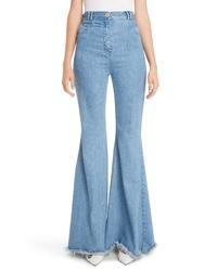 Balmain High Waist Frayed Hem Flare Jeans