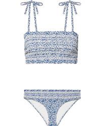 Tory Burch Costa Smocked Floral Print Bikini