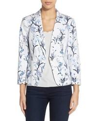 Cece by cynthia steffe tulum bouquet floral print pique blazer size 2 blue medium 544892
