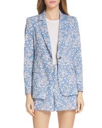 Alice + Olivia Macey Floral Print Cotton Blend Blazer