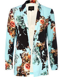 Turquoise floral print open front blazer medium 81849