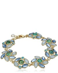 Napier Giftable Gold Tone And Blue Multi Flower Bracelet