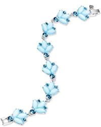 Nine West Silver Tone Floral Stone Flex Bracelet