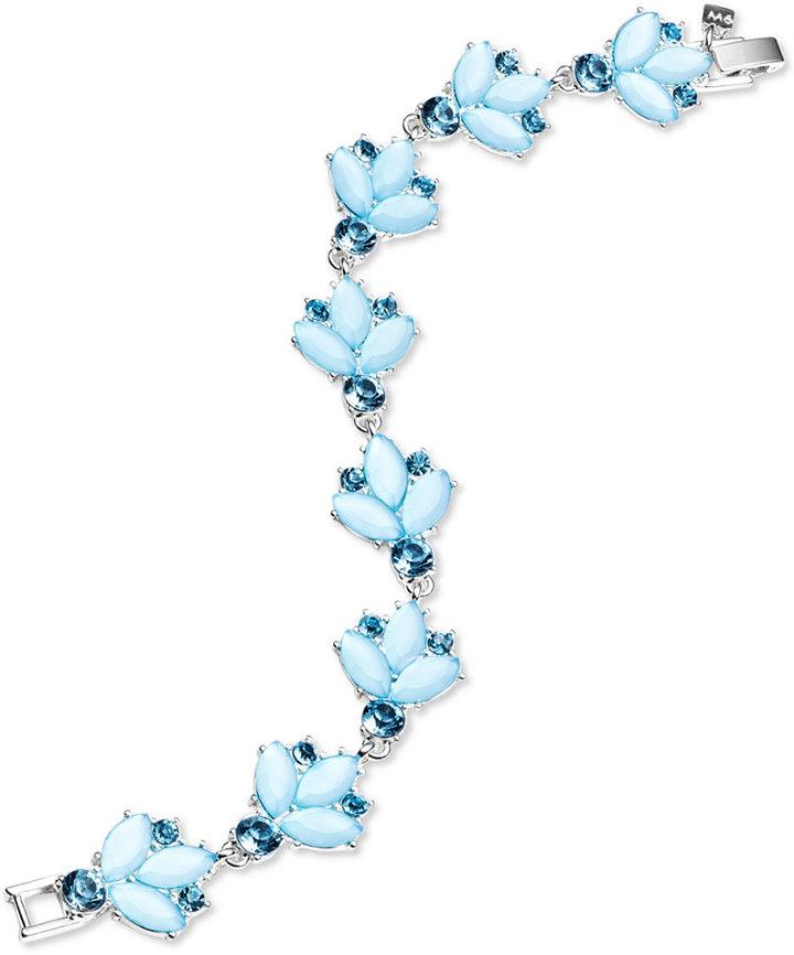 Nine West Silver-tone Floral Stone Flex Bracelet