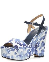 Michl michl kors leonora floral print wedge sandal blue medium 645055