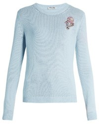 Light Blue Floral Cashmere Sweaters For Women Womens Fashion