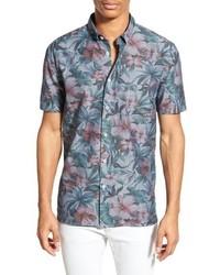 Light Blue Floral Chambray Short Sleeve Shirt