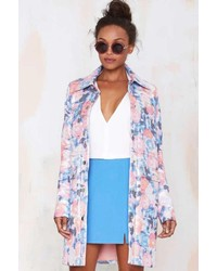 Nasty Gal Go With The Floral Metallic Coat