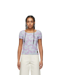 Kenzo Blue And Purple Jacquard Fitted T Shirt