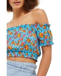 Floral smocked off the shoulder crop top medium 5034991
