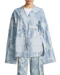 Light Blue Floral Denim Jacket