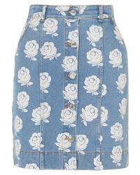 Kenzo Floral Print Denim Mini Skirt