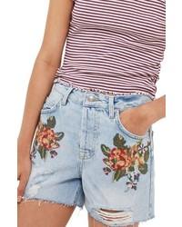 Ashley cross stitch vintage floral denim shorts medium 4990268