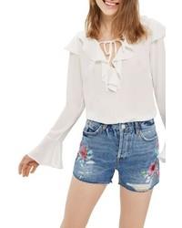 Ashley floral painted denim shorts medium 4990219