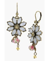 Betsey Johnson Girlie Grunge Flower Drop Earrings