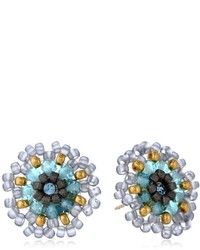 Miguel Ases Blue Synthetic Quartz And Swarovski Stud Earrings
