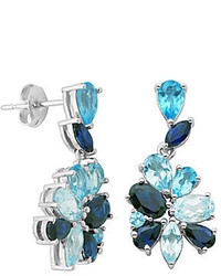 Fine jewelry sterling silver shades of blue flower earrings medium 133464