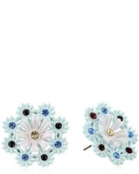 Betsey Johnson Girlie Grunge Multi Colored Crystal Flower Stud Earrings
