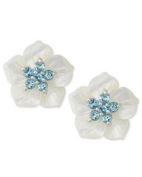 Macy's Sterling Silver Earrings White Mother Of Pearl And Blue Topaz Flower Stud Earrings