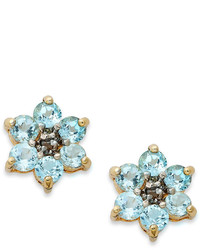 Townsend Victoria 18k Gold Over Sterling Silver Earrings Blue Topaz Flower Stud Earrings