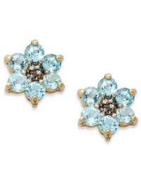 Victoria Townsend 18k Gold Over Sterling Silver Earrings Blue Topaz Flower Stud Earrings