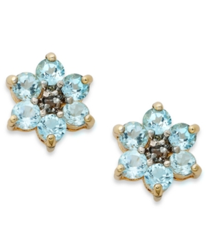 31acca55b ... Victoria Townsend 18k Gold Over Sterling Silver Earrings Blue Topaz  Flower Stud Earrings