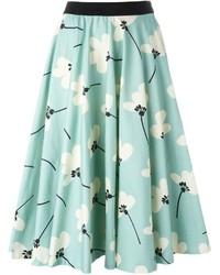 Eggs pleated floral print full skirt medium 565754