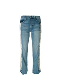 Current/Elliott Cropped Floral Panel Jeans