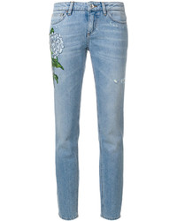 Floral patch straight leg jeans medium 4346289