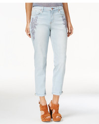 Jessica Simpson Mika Floral Applique Girlfriend Jeans