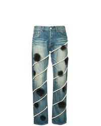 Tu Es Mon Trésor Pearl And Tulle Flower Jeans Short Length