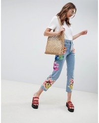 ASOS DESIGN Rigid Straight Leg Jeans In Cambridge Wash With Floral Patching