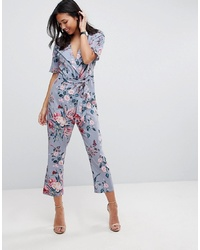 b0397403e40 ASOS DESIGN Asos Wrap Jumpsuit With Self Belt In Printpink